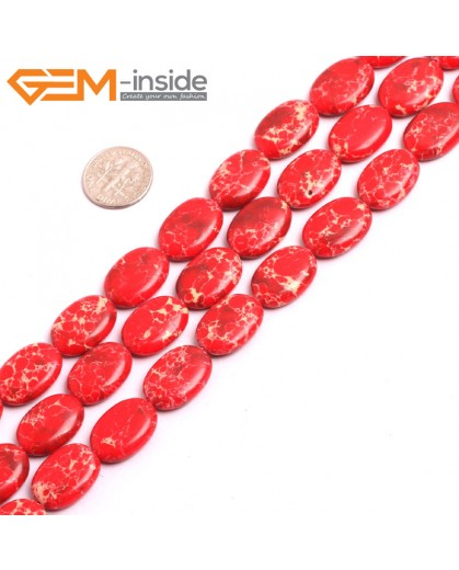 "G15371 13x18mm Oval Red Sea Sediment Jasper Beads Dyed color 15"" Beads for Jewelry Making Wholesale"
