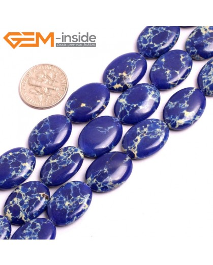 "G15372 13x18mm Oval Lpais Blue Sea Sediment Jasper Beads Dyed Color 15"" Beads for Jewelry Making Wholesale"