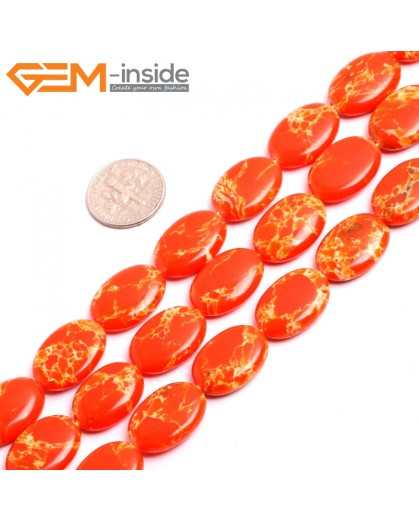"G15373 13x18mm Oval Orange Sea Sediment Jasper Beads Dyed Color 15"" Beads for Jewelry Making Wholesale"