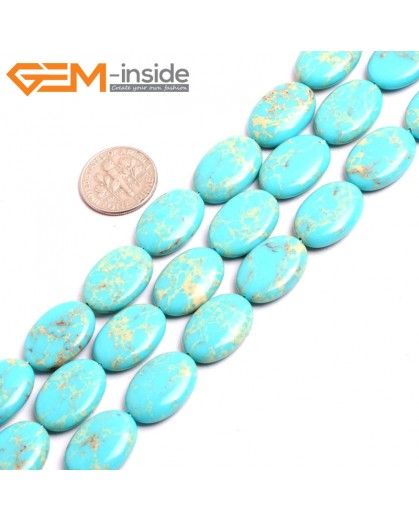 "G15375 13x18mm Oval Turquoise Blue Sea Sediment Jasper Beads Dyed Color 15"" Beads for Jewelry Making Wholesale"