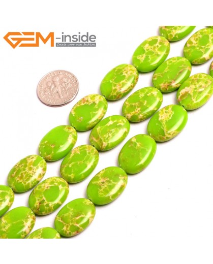 "G15376 13x18mm Oval Apple Green Sea Sediment Jasper Beads Dyed Color 15"" Beads for Jewelry Making Wholesale"