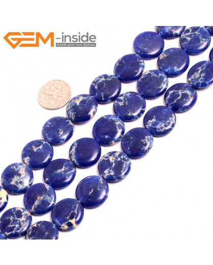 "G15380 16mm Coin Lpais Blue Sea Sediment Jasper Beads Dyed Color 15""  Beads for Jewelry Making Wholesale"