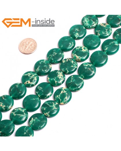 "G15381 16mm Coin Dark Green Sea Sediment Jasper Beads Dyed Color 15"" Beads for Jewelry Making Wholesale"