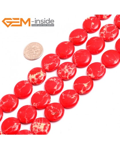 "G15382 16mm Coin Red Sea Sediment Jasper Beads Dyed Color 15"" Beads for Jewelry Making Wholesale"