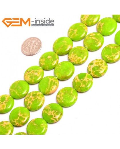 "G15383 16mm Coin Apple Green Sea Sediment Jasper Beads Dyed Color 15"" Beads for Jewelry Making Wholesale"