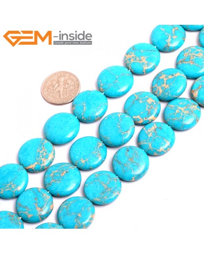 "G15384 16mm Coin Blue Sea Sediment Jasper Beads Dyed Color 15"" Beads for Jewelry Making Wholesale"