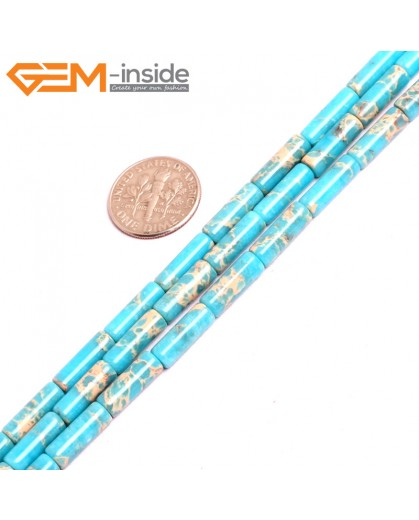 """G15385 4x14mm Column Blue Sea Sediment Jasper Beads Dyed Color 15"""" Beads for Jewelry Making Wholesale"""