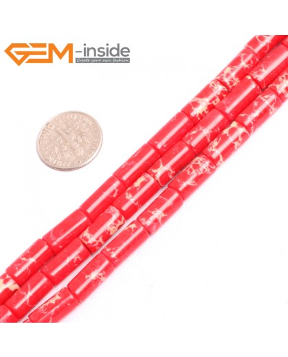 """G15389 6x13mm Column Red Sea Sediment Jasper Beads Dyed Color 15"""" Beads for Jewelry Making Wholesale"""