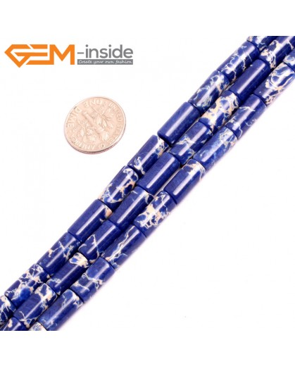 "G15390 6x13mm Column Lapis Blue Sea Sediment Jasper Beads Dyed Color 15"" Beads for Jewelry Making Wholesale"