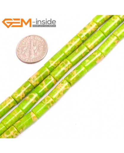 "G15391 6x13mm Column Apple Green Sea Sediment Jasper Beads Dyed Color 15"" Beads for Jewelry Making Wholesale"