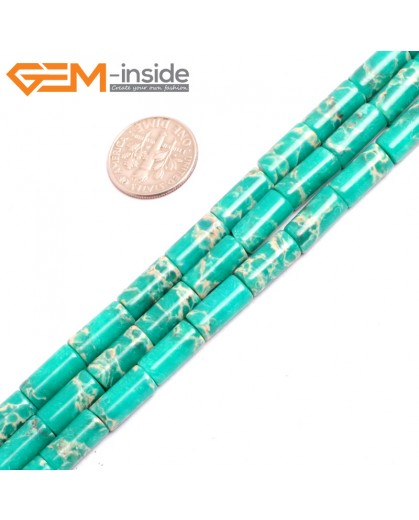"G15392 6x13mm Column Dark Green Sea Sediment Jasper Beads Dyed Color 15"" Beads for Jewelry Making Wholesale"