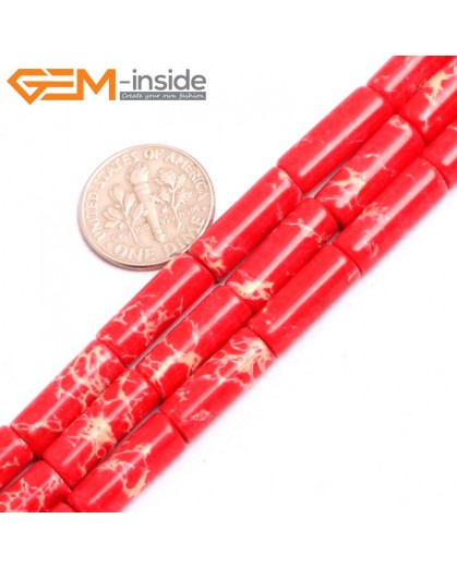 "G15394 6x16mm Column Red Sea Sediment Jasper Beads Dyed Color 15"" Beads for Jewelry Making Wholesale"