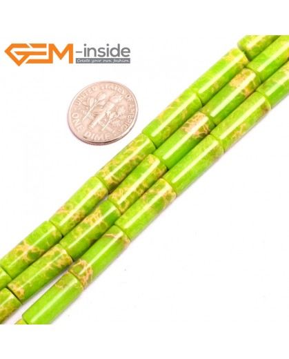 "G15395 6x16mm Column Apple Green Sea Sediment Jasper Beads Dyed Color 15"" Beads for Jewelry Making Wholesale"