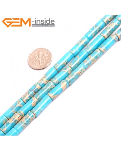 "G15398 6x16mm Column Light Blue Sea Sediment Jasper Beads Dyed Color 15"" Beads for Jewelry Making Wholesale"