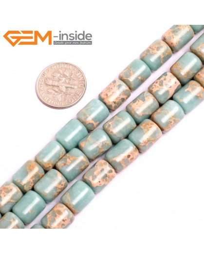 "G15403 8x12mm Drum Light Blue Sea Sediment Jasper Beads Dyed Color 15"" Beads for Jewelry Making Wholesale"