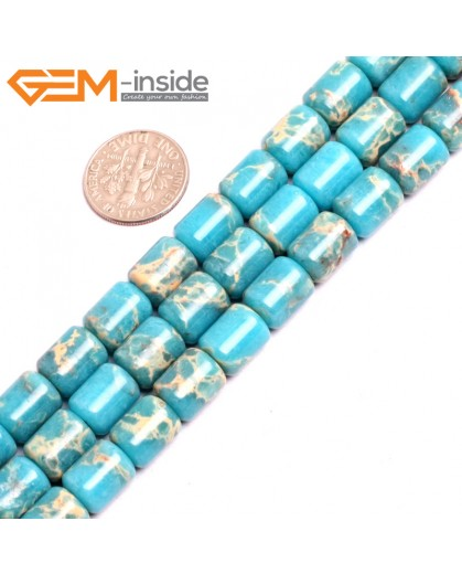"G15404 8x12mm Drum Blue Sea Sediment Jasper Beads Dyed Color 15"" Beads for Jewelry Making Wholesale"