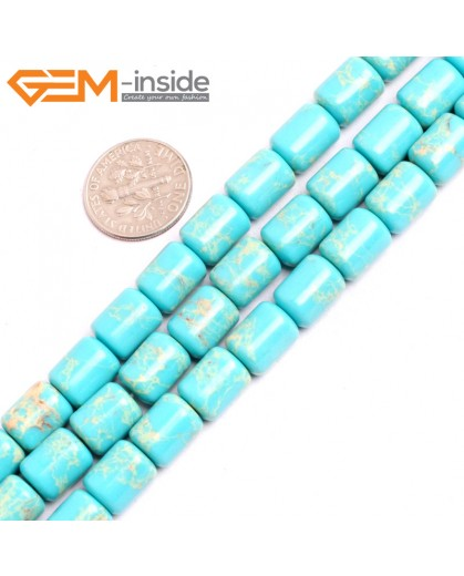 "G15406 8x12mm Drum Light Turquoise Blue Sea Sediment Jasper Beads Dyed Color 15"" Beads for Jewelry Making Wholesale"