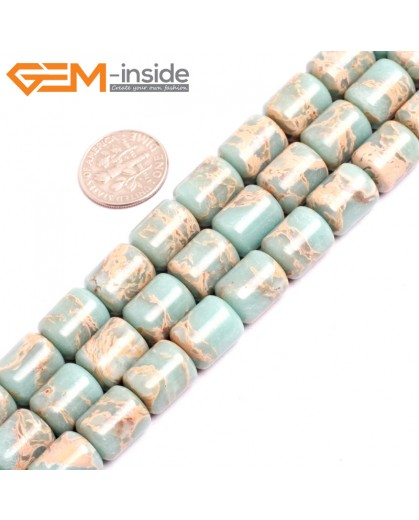 "G15408 10x12mm Drum Light Blue Sea Sediment Jasper Beads Dyed Color 15"" Beads for Jewelry Making Wholesale"
