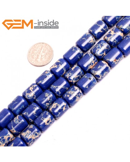 "G15410 10x12mm Drum Lapis Blue Sea Sediment Jasper Beads Dyed Gemstone 15"" Stone Beads for Jewelry Making Wholesale"