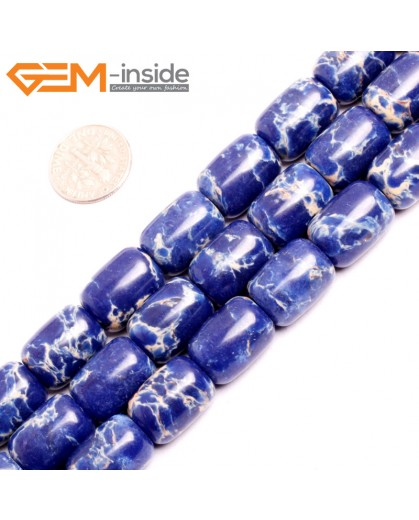 "G15412 12x16mm Drum Lpais Blue Sea Sediment Jasper Beads Dyed Gemstone 15"" Stone Beads for Jewelry Making Wholesale"