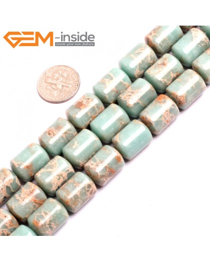 "G15416 12x16mm Drum Light Old Turquoise Blue Sea Sediment Jasper Beads Dyed Gemstone 15"" Stone Beads for Jewelry Making Wholesale"