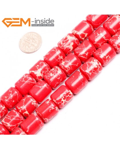 "G15417 12x14mm Drum Red Sea Sediment Jasper Beads Dyed Gemstone 15"" Stone Beads for Jewelry Making Wholesale"