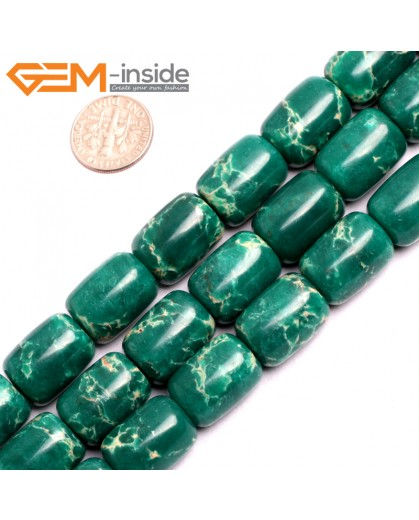 "G15421 13x18mm Drum Dark Green Sea Sediment Jasper Beads Dyed Color 15"" Beads for Jewelry Making Wholesale"