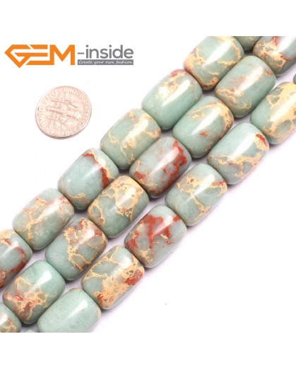"G15422 13x18mm Drum Light Old Turquoise Blue Sea Sediment Jasper Beads Dyed Color 15"" Beads for Jewelry Making Wholesale"