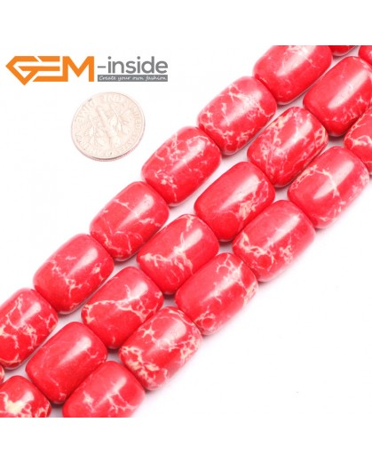 "G15424 13x18mm Drum Red Sea Sediment Jasper Beads Dyed Color 15"" Beads for Jewelry Making Wholesale"