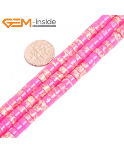 """G15427 4x6mm Column Pink Sea Sediment Jasper Beads Dyed Color 15"""" Beads for Jewelry Making Wholesale"""