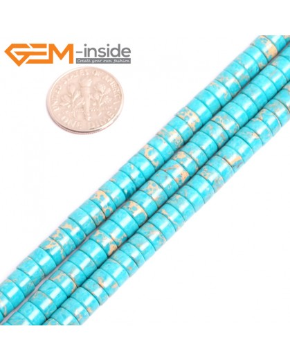 "G15429 4x6mm Column Blue Sea Sediment Jasper Beads Dyed Color 15"" Beads for Jewelry Making Wholesale"