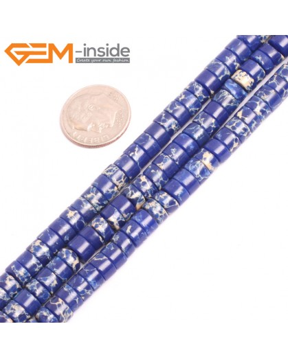 """G15431 4x6mm Column Lapis Blue Sea Sediment Jasper Beads Dyed Color 15"""" Beads for Jewelry Making Wholesale"""