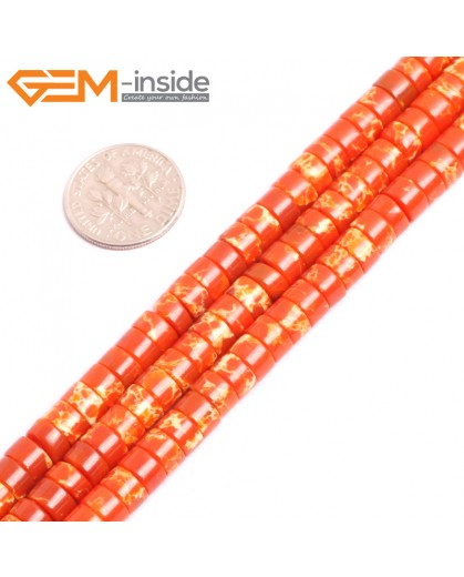 "G15432 4x6mm Column Orange Sea Sediment Jasper Beads Dyed Color 15 "" Beads for Jewelry Making Wholesale"