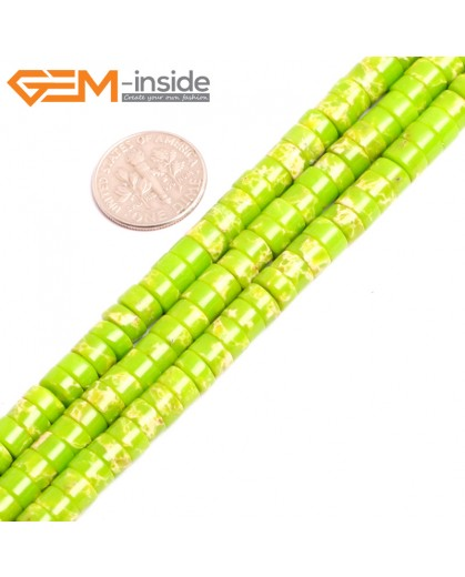 "G15434 4x6mm Column Apple Green Sea Sediment Jasper Beads Dyed Gemstone 15"" Stone Beads for Jewelry Making Wholesale"