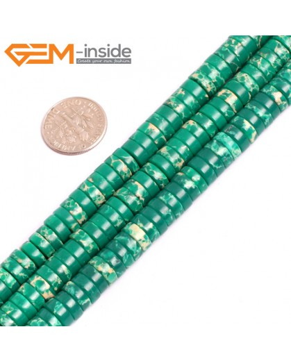 "G15436 4x8mm Column Green Sea Sediment Jasper Beads Dyed Color 15"" Beads for Jewelry Making Wholesale"