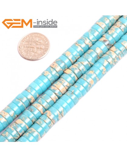 """G15438 4x8mm Column Blue Sea Sediment Jasper Beads Dyed Color 15"""" Beads for Jewelry Making Wholesale"""