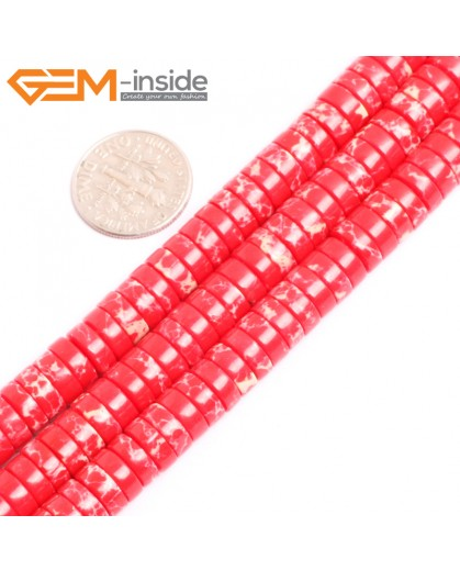 "G15439 4x8mm Column Red Sea Sediment Jasper Beads Dyed Color 15"" Beads for Jewelry Making Wholesale"