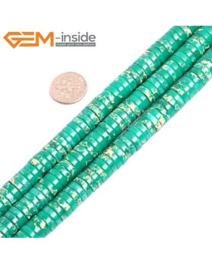 "G15448 4x10mm Column Green Sea Sediment Jasper Beads Dyed Color 15"" Beads for Jewelry Making Wholesale"
