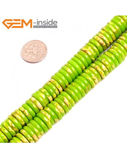 "G15455 4x12mm Column Apple Green Sea Sediment Jasper Beads Dyed Color 15 ""  Beads for Jewelry Making Wholesale"