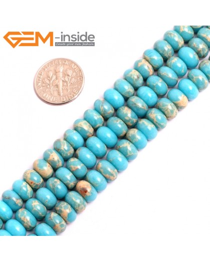 "G15460 5x8mm Rondelle Blue Sea Sediment Jasper Beads Dyed Color 15 "" Beads for Jewelry Making Wholesale"