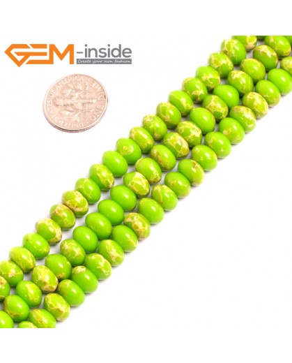 "G15461 5x8mm Rondelle Apple Green Sea Sediment Jasper Beads Dyed Color 15 "" Beads for Jewelry Making Wholesale"