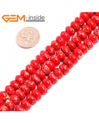 "G15464 5x8mm Rondelle Red Sea Sediment Jasper Beads Dyed Color 15 "" Beads for Jewelry Making Wholesale"
