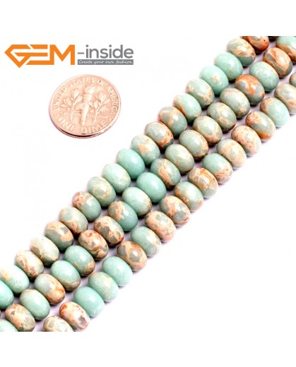 "G15465 5x8mm Rondelle Light Blue Sea Sediment Jasper Beads Dyed Color 15"" Beads for Jewelry Making Wholesale"