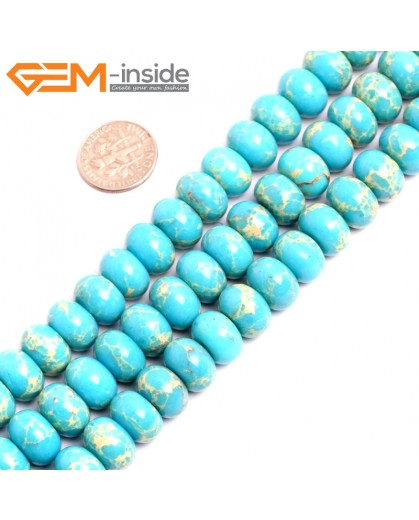 "G15468 8x12mm Rondelle Turquoise Blue Sea Sediment Jasper Beads Dyed  Color 15 "" Beads for Jewelry Making Wholesale"