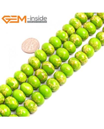 "G15469 9x13mm Rondelle Apple Green Sea Sediment Jasper Beads Dyed Color 15 "" Beads for Jewelry Making Wholesale"
