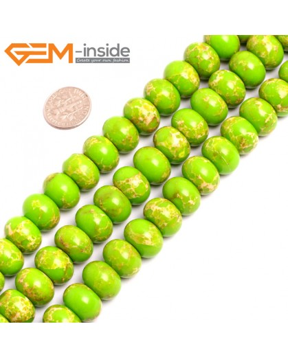 "G15470 10x14mm Rondelle Apple Green Sea Sediment Jasper Beads Dyed Color 15 "" Beads for Jewelry Making Wholesale"