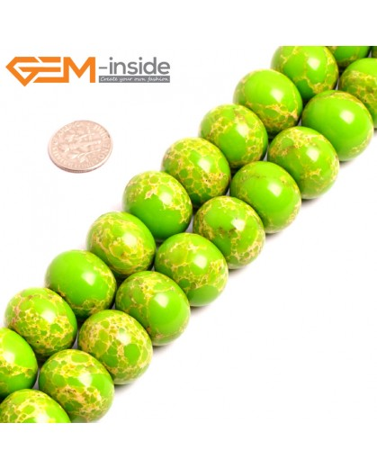 "G15474 15x20mm Rondelle Apple Green Sea Sediment Jasper Beads Dyed Gemstone 15"" Stone Beads for Jewelry Making Wholesale"