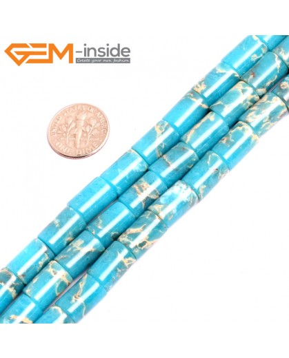 "G15476 8x12mm Column Blue Sea Sediment Jasper Beads Dyed Gemstone 15"" Stone Beads for Jewelry Making Wholesale"