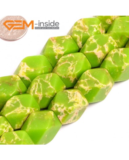 """G15484 13x18mm Column Faceted Apple Green Sea Sediment Jasper Beads Dyed Gemstone 15"""" Stone Beads for Jewelry Making Wholesale"""