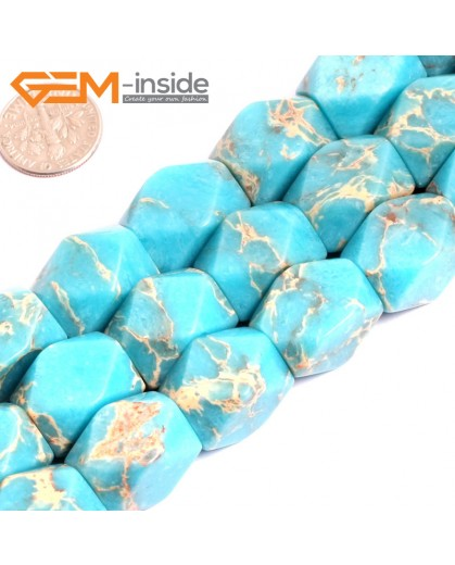 """G15486 13x18mm Column Faceted  Blue Sea Sediment Jasper Beads Dyed Gemstone 15"""" Stone Beads for Jewelry Making Wholesale"""